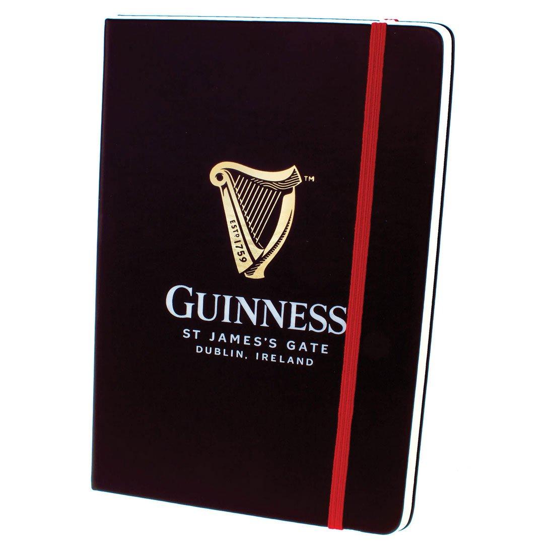 Taccuino Guinness Nero con Logo Arpa e Cinturino Elastico Rosso - Viaggiare in Irlanda