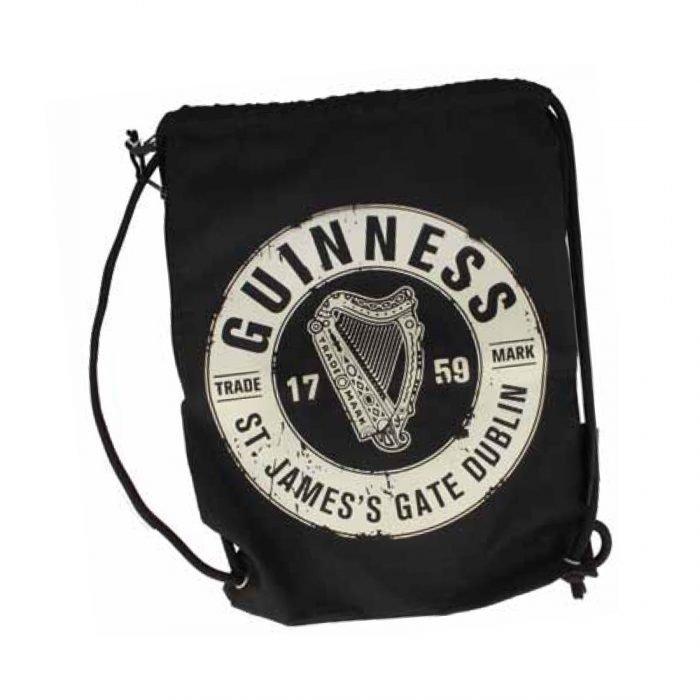 Borsa Guinness Morbida Nera con Lacci e Logo Guinness Harp
