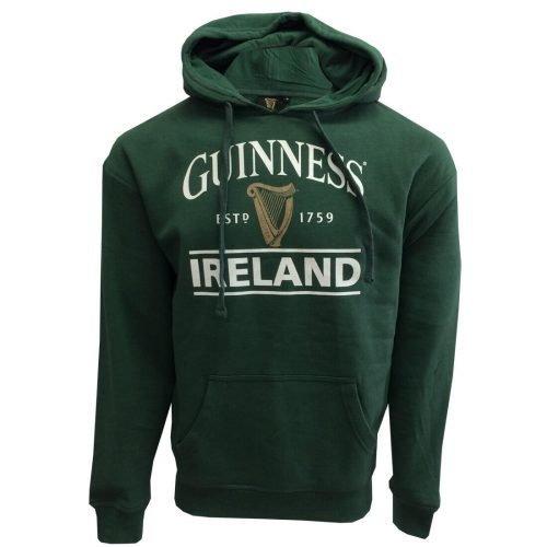 Felpa Guinness con cappuccio di colore verde con logo Guinness e scritta Irlanda - Viaggiare in Irlanda