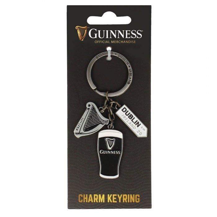 Portachiavi ufficiale Guinness Multi-Charm con Arpa con Cartello Dublino e Pinta - Viaggiare in Irlanda