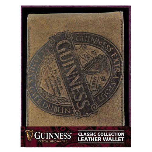Portafoglio Guinness in Pelle Marrone con Disegno Etichetta Classica