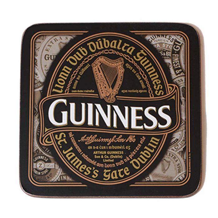 Sottobicchiere Guinness Nostalgico con Etichetta Retrò e Frase Irlandese - Viaggiare in Irlanda