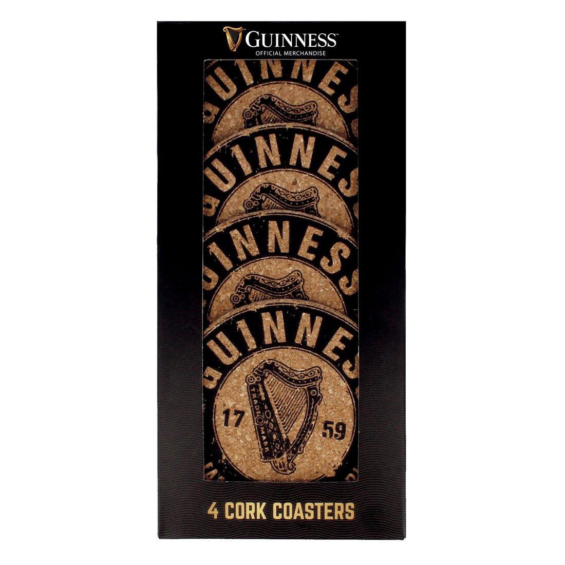 Sottobicchieri in sughero Guinness con Disegno Arpa e Scritta 1759 St. James's Gate - Viaggiare in Irlanda