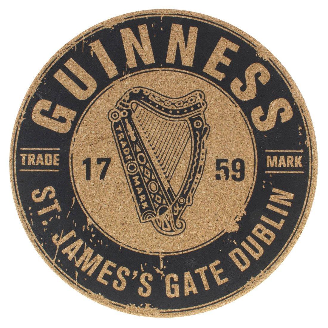 Sottopentola in sughero Guinness con Disegno Arpa e Scritta 1759 St. James's Gate - Viaggiare in Irlanda