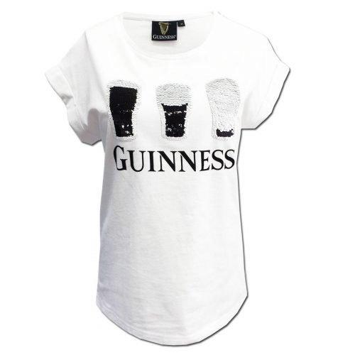 T-shirt Guinness da donna bianca con paillettes a 2 vie - Viaggiare in Irlanda