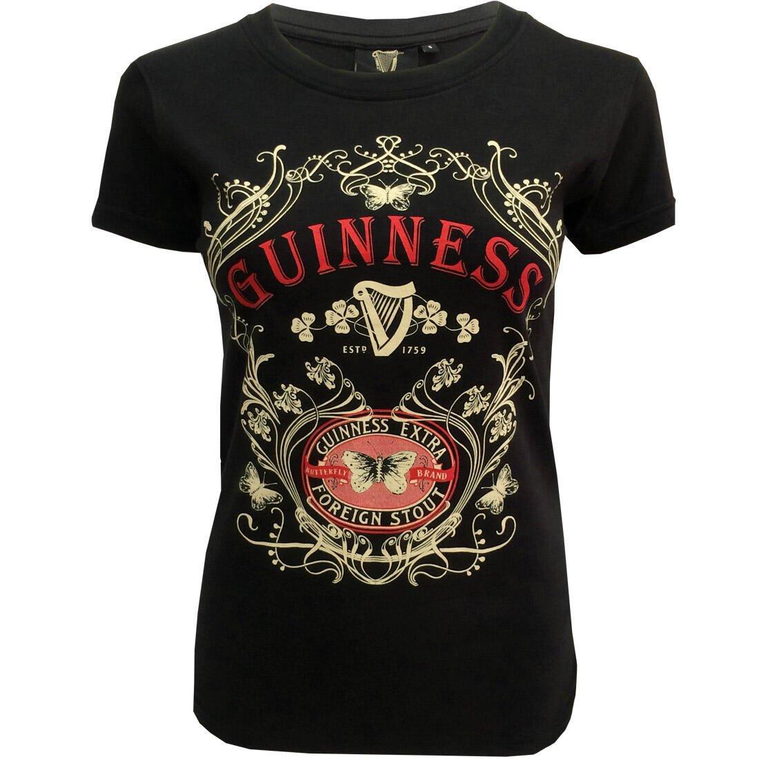 T-Shirt da Donna Guinness con Farfalla e scritta Guinness - Viaggiare in Irlanda