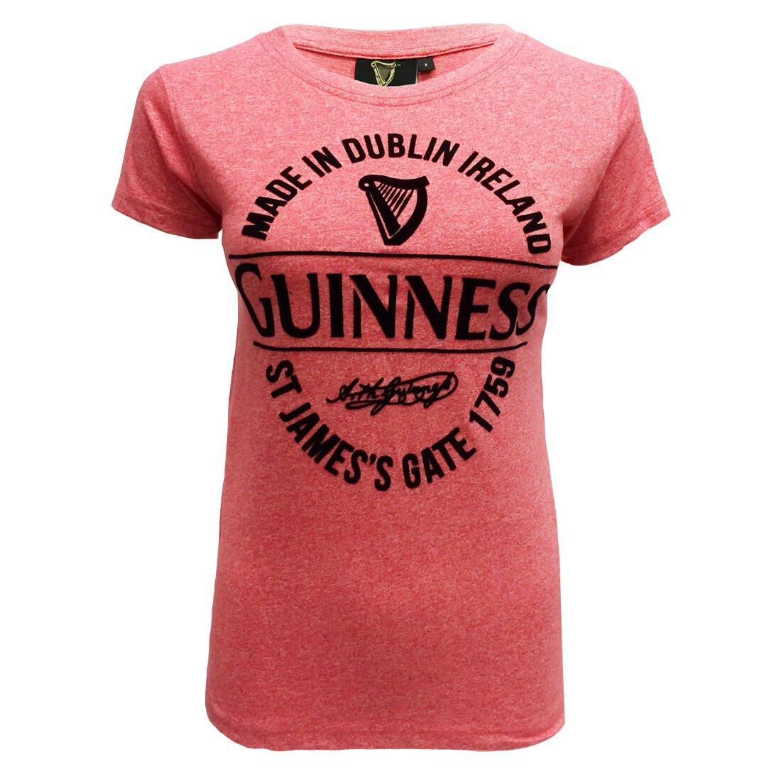 """T-shirt da donna Guinness rosa con scritta """"Realizzata a Dublino"""" - Viaggiare in Irlanda"""