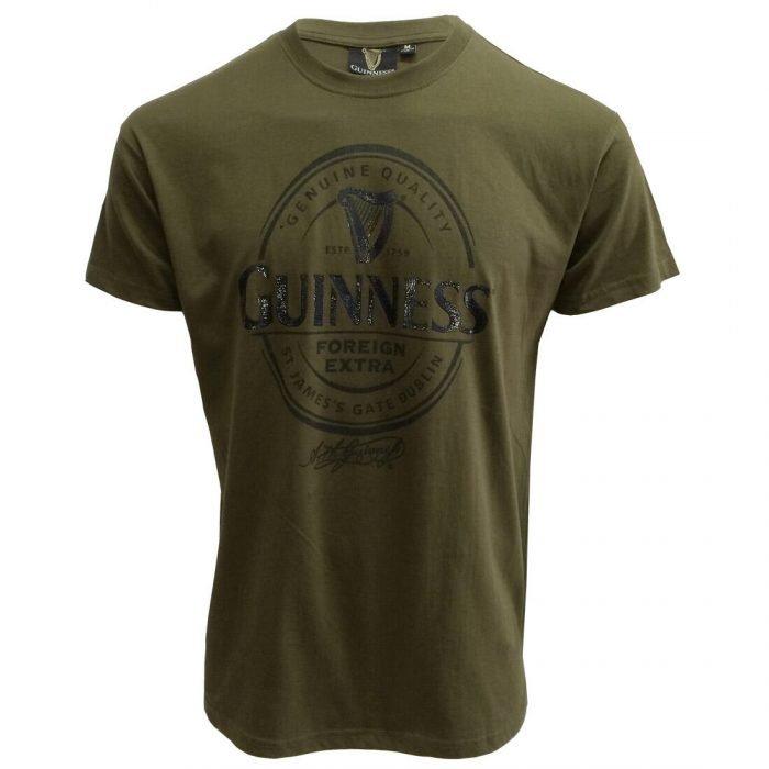 T-shirt Guinness con logo Foreign Extra di colore kaki - Viaggiare in Irlanda