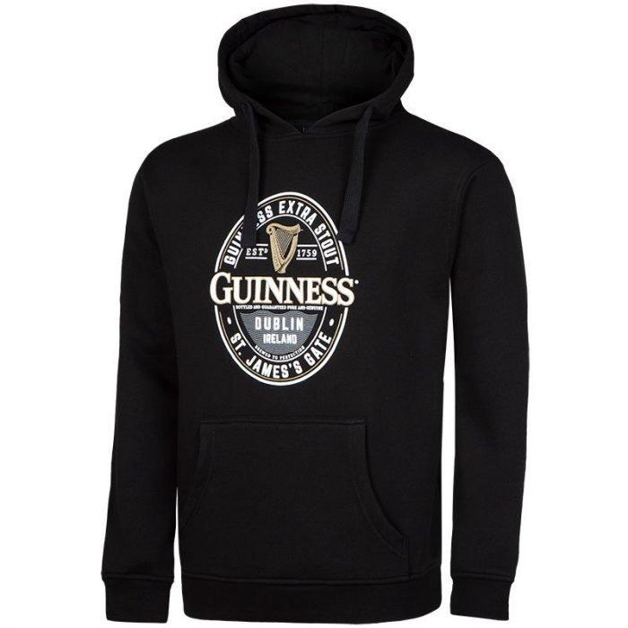 Felpa con Cappuccio Guinness di colore nero con Logo Ufficiale - Viaggiare in Irlanda