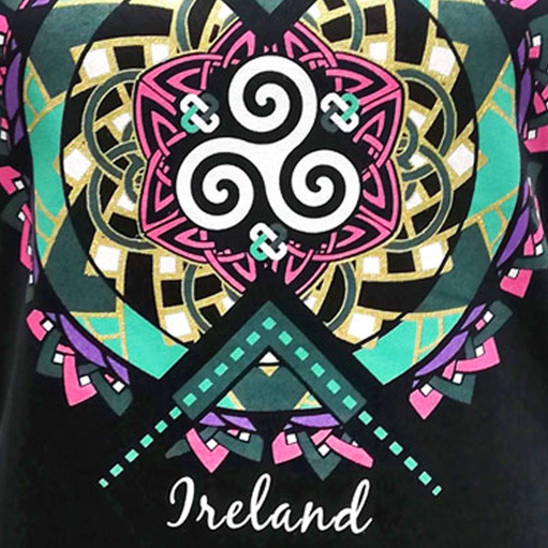 T-shirt da Donna Navy con disegno Celtico e Scritta Ireland - Viaggiare in Irlanda