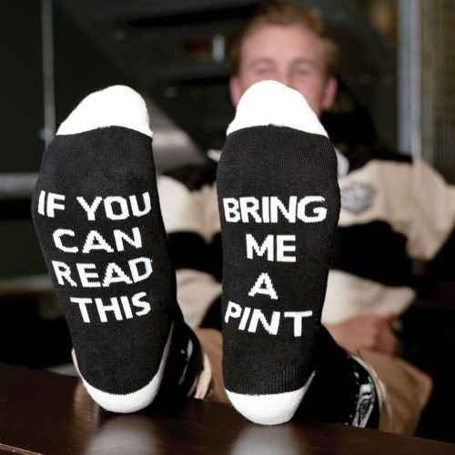 """Calzini Guinness Neri e Bianchi con scritta """"Bring Me A Pint"""" - Viaggiare in Irlanda"""
