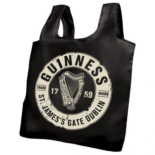 Borsa della Spesa Pieghevole Guinness con Logo Bottletop - Viaggiare in Irlanda